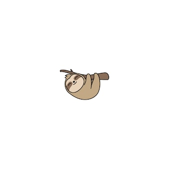 Cute sloth hanging on a branch cartoon
