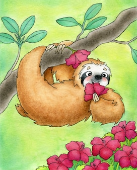Cute sloth hanging on a branch in a tropical forest and eating a flower