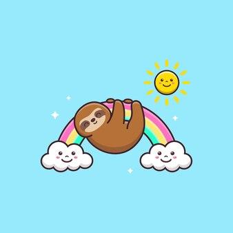 虹にぶら下がっているかわいいナマケモノ