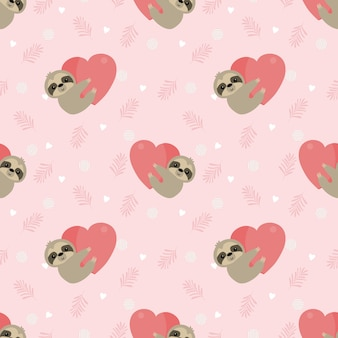 Cute sloth hold a heart on pink leaves seamless pattern.