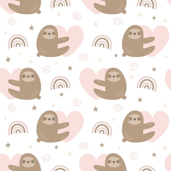 Cute sloth hugging heart with rainbow seamless pattern background