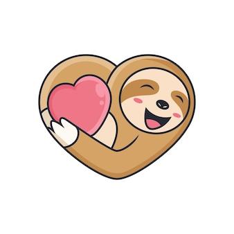 Милый ленивец обнимает любовь. мультфильм значок иллюстрации. концепция животных значок на белом фоне