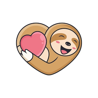 Cute sloth hugging love. cartoon  icon illustration. animal icon concept on white background