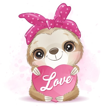 Cute sloth hugging with love