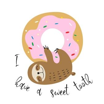 귀여운 나무 늘보는 달콤한 도넛에 매달렸다. 달콤한 이빨.