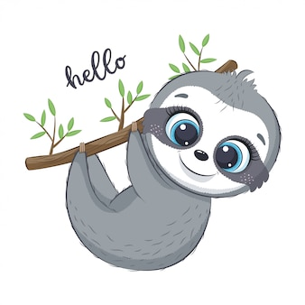 Cute sloth illustration.