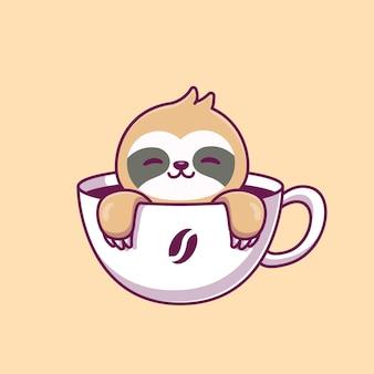 コーヒーカップのかわいいナマケモノ漫画ベクトルアイコンイラスト。