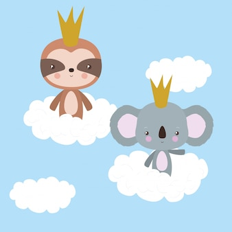 Cute sloth and koala cartoon