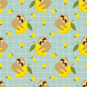 Cute sloth and lemon seamless pattern.
