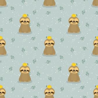 Cute sloth and lemon seamless pattern.