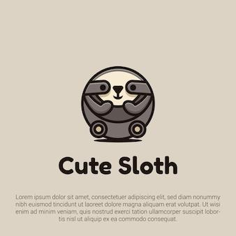 Милый ленивец дизайн логотипа с милой и мультяшный стиль иллюстрации концепций. подходит для значков, эмблем и значков