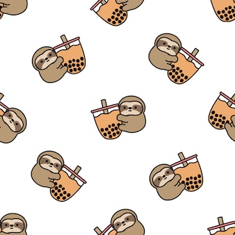 Cute sloth loves bubble tea cartoon seamless pattern