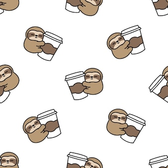 Cute sloth loves coffee cartoon seamless pattern