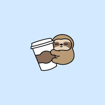 Cute sloth loves coffee cartoon