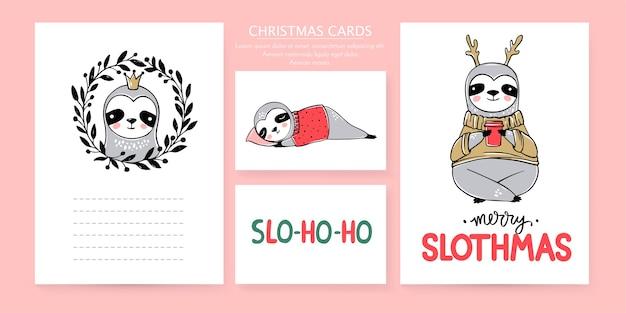 귀여운 나무 늘보, 메리 크리스마스 카드 컬렉션. 게으른 나무 늘보 곰과 글자 비문 낙서. 새해 복 많이 받으세요 그리고 크리스마스 동물 세트.