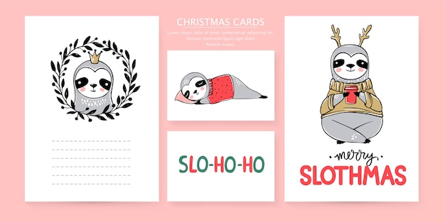 Cute sloth, merry christmas cards collection. doodle lazy sloths bears and lettering inscriptions. happy new year and xmas animals set.