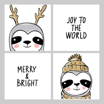 かわいいナマケモノ、メリークリスマスカードコレクション。冬休みの面白いイラスト。怠惰なナマケモノのクマとレタリングの碑文を落書きします。明けましておめでとうとクリスマスの動物が設定されています。