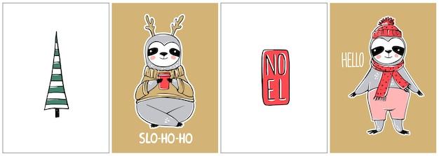 귀여운 나무 늘보, 메리 크리스마스 카드 컬렉션. 겨울 휴가를위한 재미있는 삽화. 게으른 나무 늘보 곰 낙서