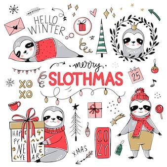 귀여운 나무 늘보, 메리 크리스마스 컬렉션. 스카프, 선물 상자, 모자로 게으른 나무 늘보 곰을 낙서하십시오. 새해 복 많이 받으세요 그리고 크리스마스 동물 세트. 프리미엄 벡터
