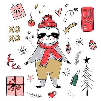 귀여운 나무 늘보, 메리 크리스마스 컬렉션. 스카프, 선물 상자, 모자로 게으른 나무 늘보 곰을 낙서하십시오. 새해 복 많이 받으세요 그리고 크리스마스 동물 세트.