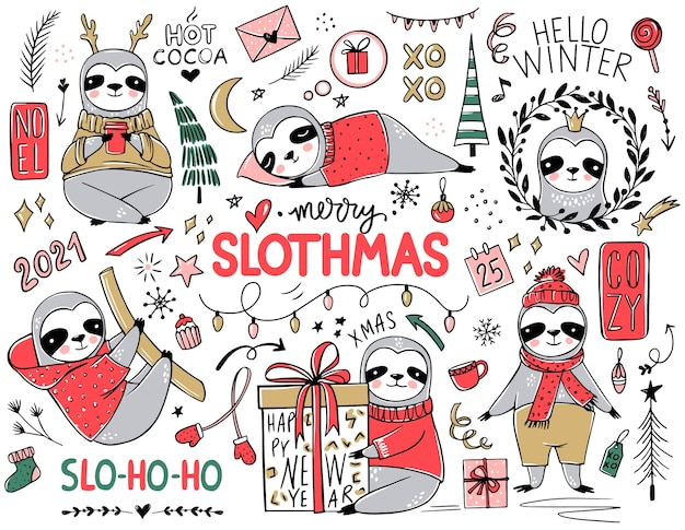 かわいいナマケモノ、メリークリスマスコレクション。