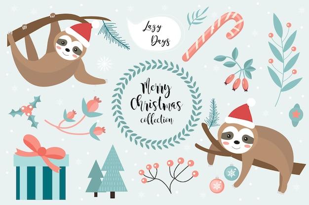 Симпатичный ленивец с рождеством христовым. коллекция элементов дизайна с маленькими ленивцами