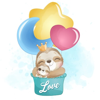 かわいいナマケモノの母親と赤ちゃんが気球で飛んで