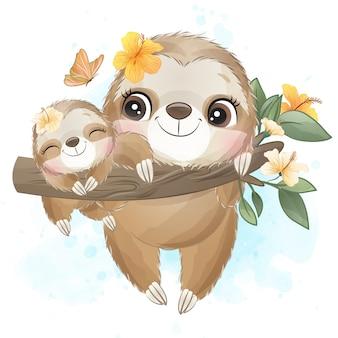Милый ленивец мама и малыш с акварелью