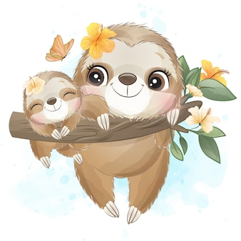 Cute sloth mother and baby with watercolor