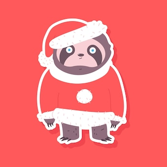 Cute sloth in santa claus costume vector sticker illustration isolated on background.
