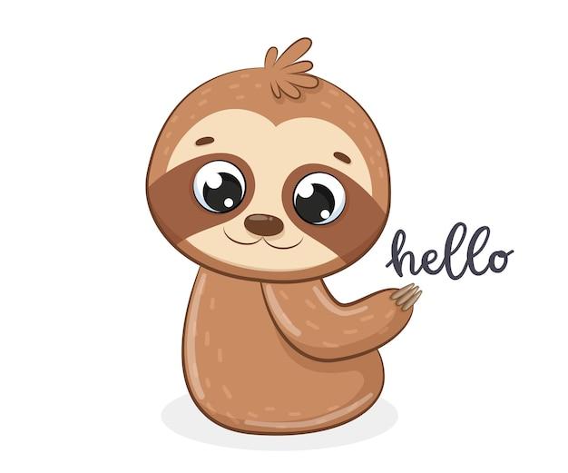 Милый ленивец говорит «привет». мультфильм векторные иллюстрации.