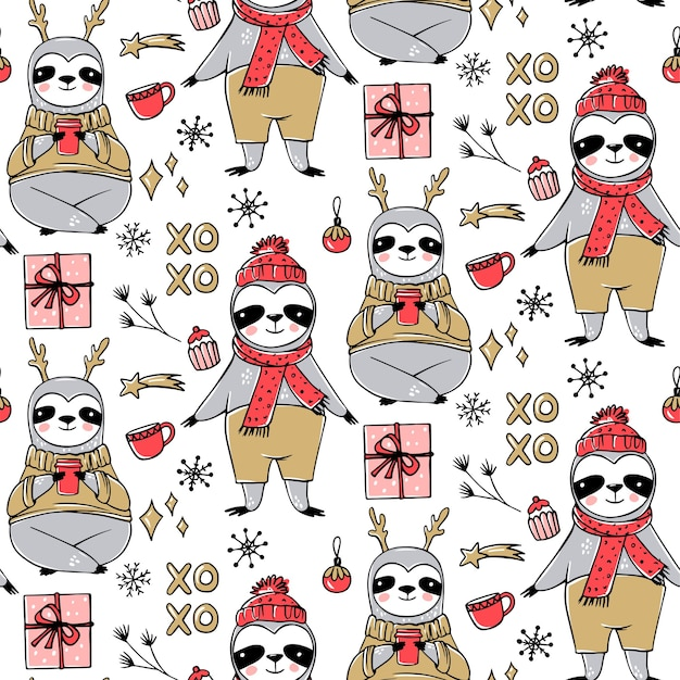 Cute sloth seamless pattern, winter cozy background. doodle lazy sloth bear with ugly sweater, cup of coffee. cute holidays design, print, wrapping paper.