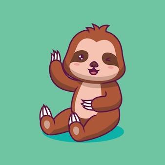 かわいいナマケモノ座って手を振る漫画イラスト