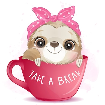 Cute sloth sitting inside the cup