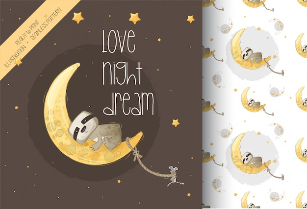 Cute sloth sleeeping on the moon illustration with seamless pattern