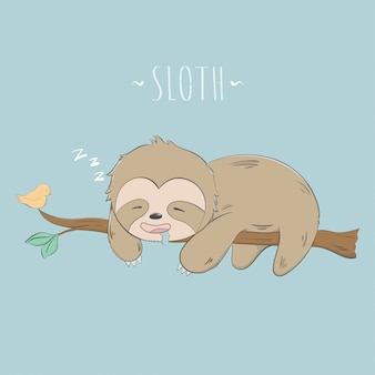 Cute sloth sleep on the tree pastel cartoon