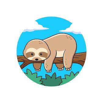 木の中でかわいいナマケモノの眠っている漫画。動物のベクトル