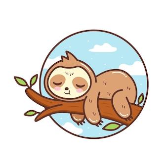 Милый ленивец спит на ветке дерева