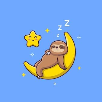 三日月で眠っているかわいいナマケモノ
