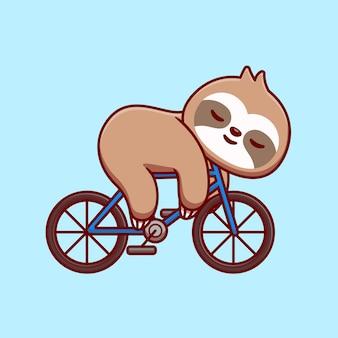 Милый ленивец, спать на велосипеде мультфильм векторные иллюстрации значок. концепция значка спорта животных, изолированных premium векторы. плоский мультяшном стиле