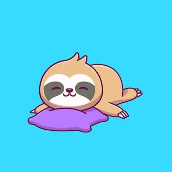 Cute sloth sleeping on pillow cartoon vector icon illustration.