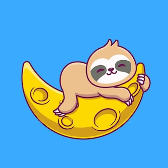 Cute sloth sleeping on sickle moon cartoon icon illustration.