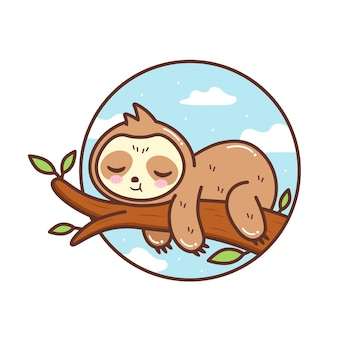 Cute sloth sleeping in the tree branch