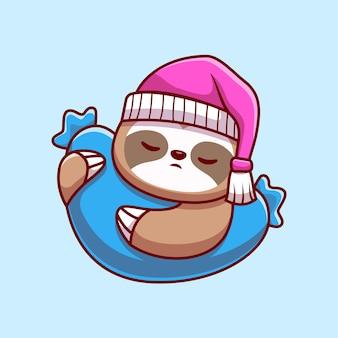 Милый ленивец, спать с подушкой, мультяшный вектор значок иллюстрации
