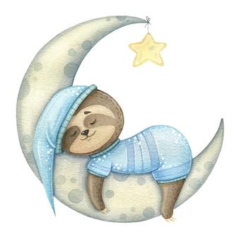 귀여운 나무 늘보는 잠옷을 입은 달, 한 달 동안 잔다. 인쇄 또는 섬유에 대한 수채화 어린이 그림.