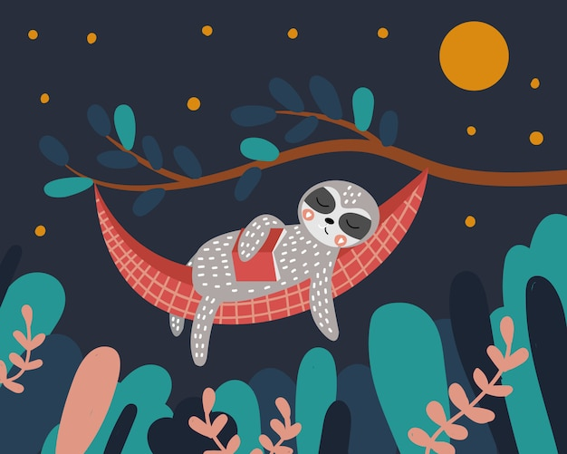 Cute sloth sleeps in a hammock with a book in his hands. night in the forest. the tree and leaves.  illustration.