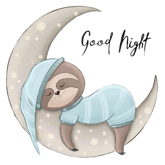Cute sloth sleeps for a month, moon in pajamas, color children's illustration for printing or textiles.