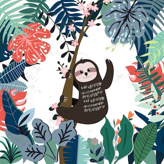 Cute sloth in spring forest pattern