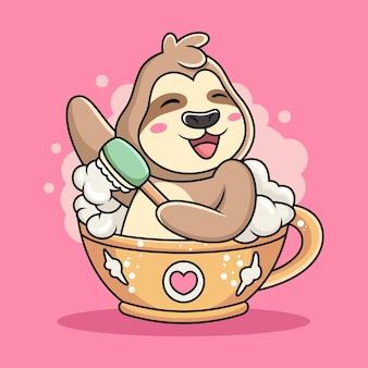 かわいいナマケモノは一杯のコーヒー漫画で泳ぐ