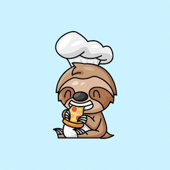 Cute sloth wearing chef hat eating pizza